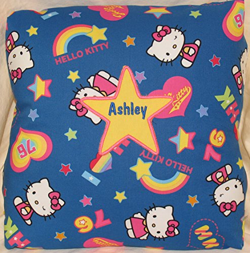 Hello Kitty Blue Fabric Personalized