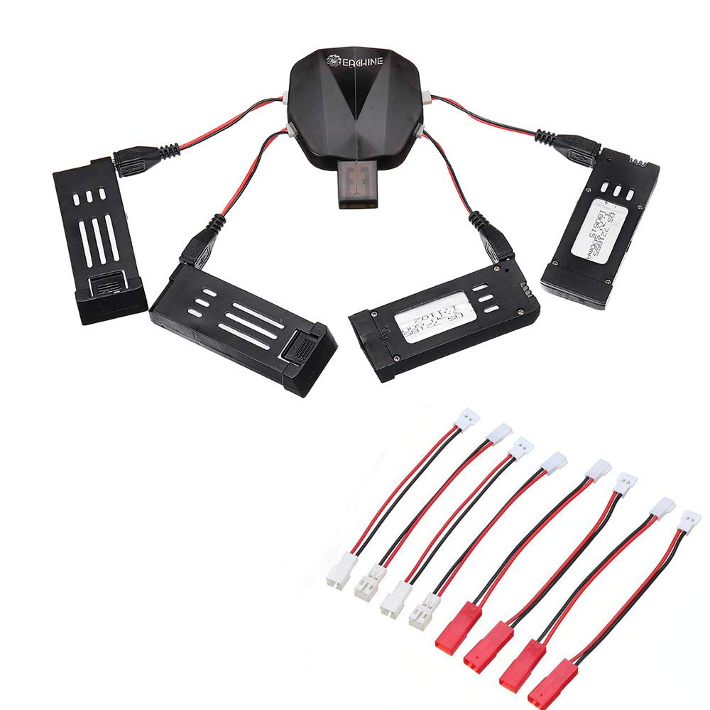 EACHINE 4-in-1 1S 3.7V Lipo Battery USB Charger with 8 Charging Cable 4 Pcs Batteries for EACHINE E58