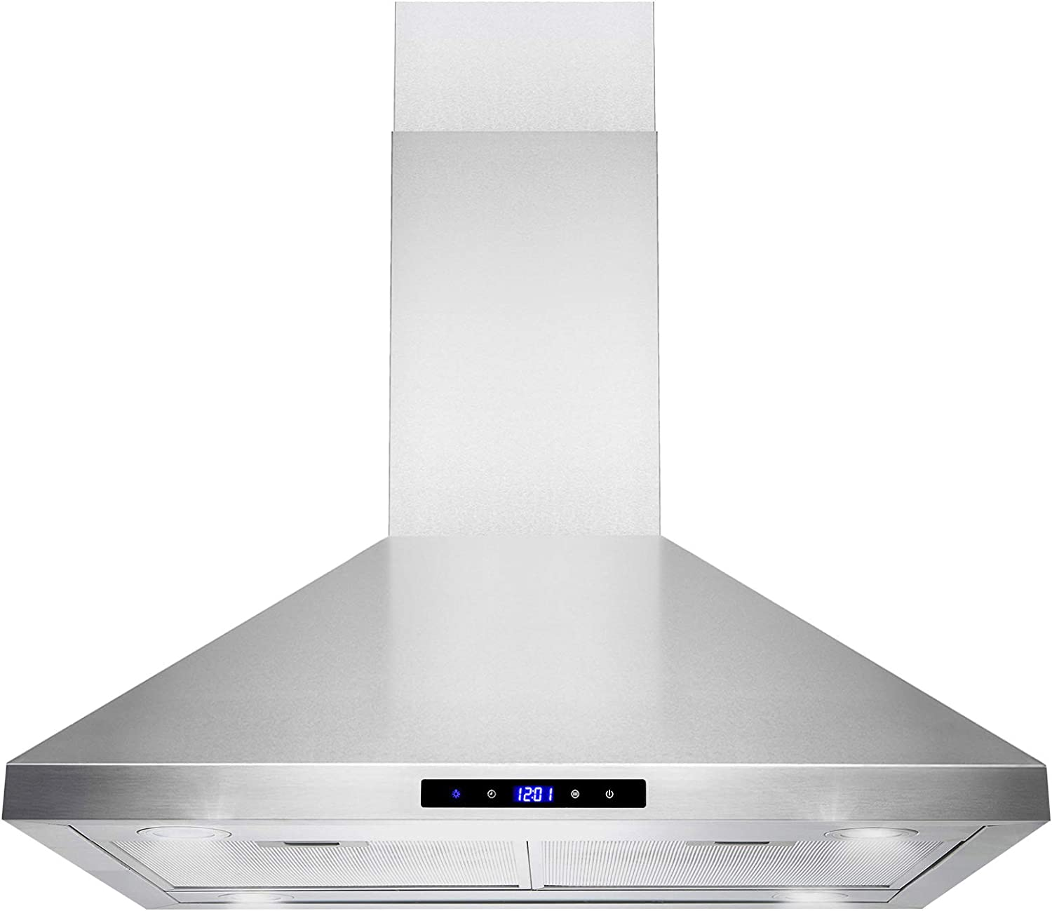 "Golden Vantage Island Mount Range Hood –30"" Stainless-Steel Hood Fan for Kitchen – 3-Speed Professional Quiet Motor – Premium Touch Control Panel – Minimalist Design – Mesh Filters & LED Lights"
