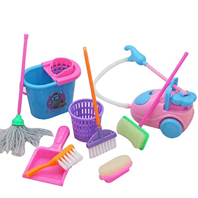 Daindy 9pcs/Set Mini Pretend Play Mop Broom Toys Cute Kids Cleaning Furniture Tools Kit House Clean Toys: Home & Kitchen