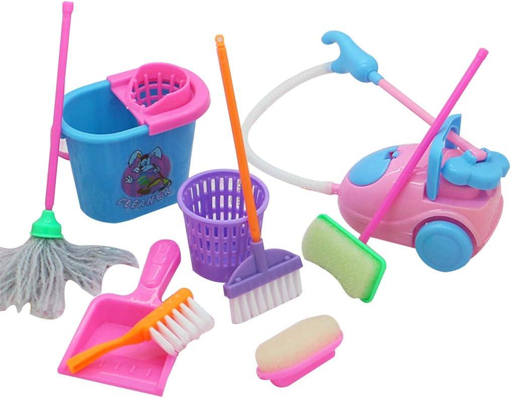 Babysbreath17 9pcs / Set Mini Juego de imaginación Escoba de la fregona Juguetes de los niños Lindos de Herramientas de Limpieza de Muebles casa Limpia Kit Juguetes