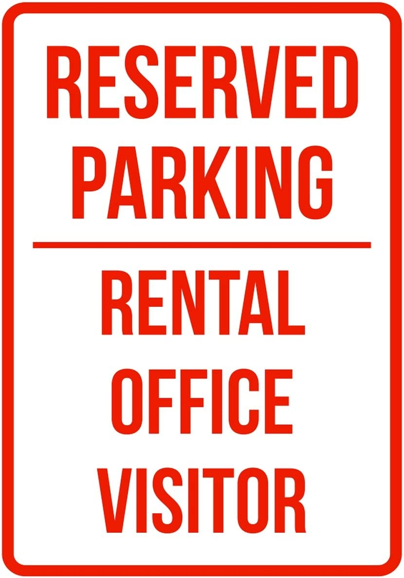 iCandy Products Inc Reserved Parking Rental Office Visitor Business Safety Traffic Signs Red - 7.5x10.5 - Metal
