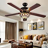 Cheap RainierLight Modern Ceiling Fans Led Light with 5 Wood Reversible Blades for Living Room/Bedroom/Dinning Room Remote Control 3 Speed(Low,Medium,High) Quiet Fan/Home Decoration (52-Inch)