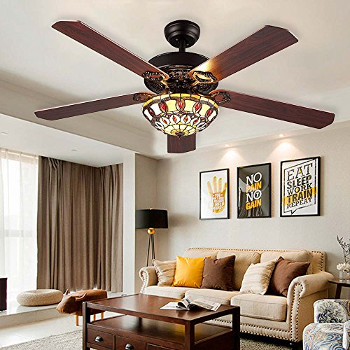 RainierLight Antique Decorative Ceiling Fans Led Light with 5 Wood Leaves for Living Room/Bedroom/Dinning Room Remote Control Mute Fan (52-Inch) by RainierLight (Image #2)