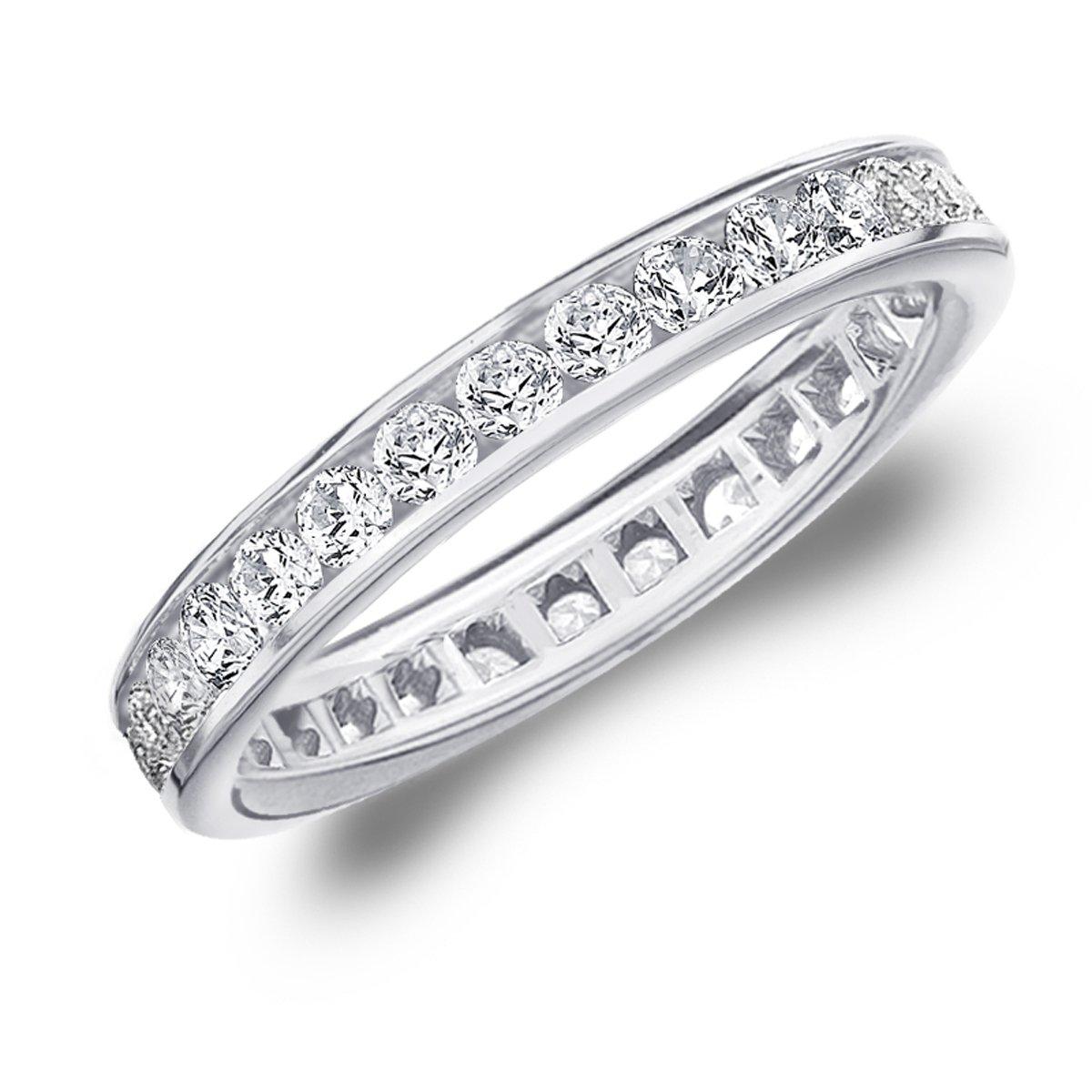 1 Carat Eternity Ring in 10K White Gold, Diamond Eternity Anniversary Wedding Band, Size 4.5