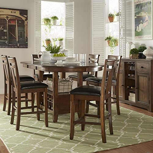 iNSPIRE Q Tuscany Brown Wood Wine Rack Counter ight Extending Dining Table Set by Classic 6 7-Piece Sets