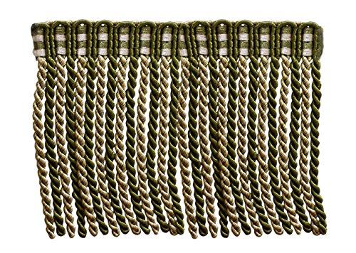 6 Inch Long Bullion Fringe Trim, Style# DB6 - Olive Green, L