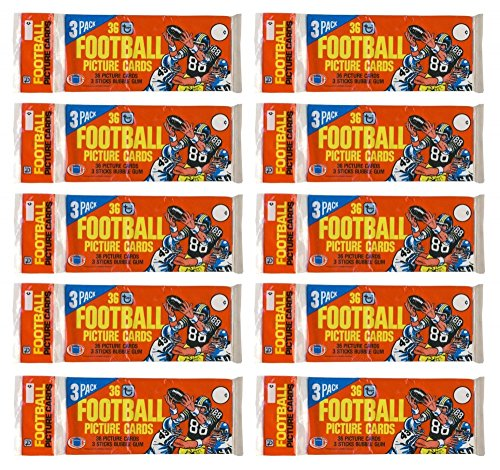 Topps Red Football (1981 Topps Football Red Top Grocery Rack Pack 10-Pack Lot)