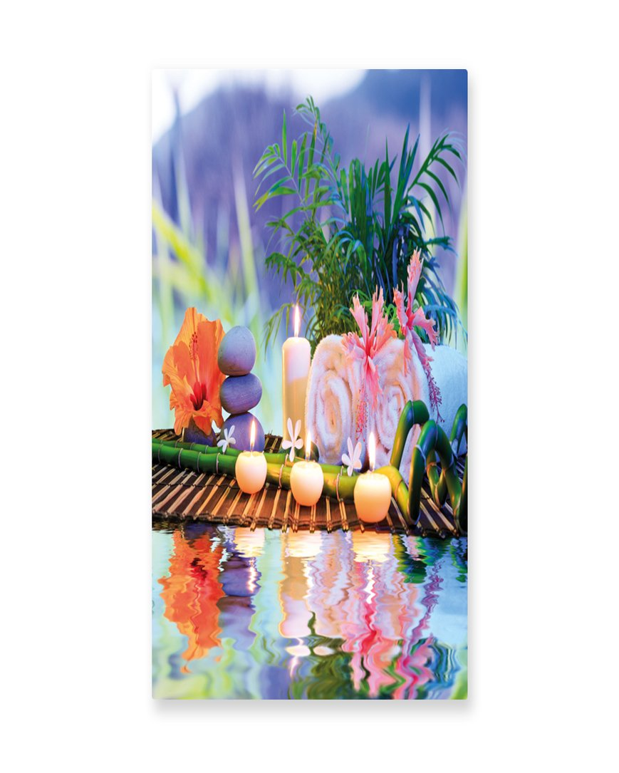 Lunarable Spa Wall Art, Asian Stones Aromatherapy Relaxation Meditation Zen Nature Bamboo Stems Yoga Concept, Gloss Aluminium Modern Metal Artwork for Wall Decor, 11.6 W X 23.5 L Inches, Multicolor