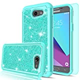 LeYi SWEET-435 Prime/Emerge/Express Prime 2/Amp Prime 2/J3 Mission/J3 Eclipse/J3 Luna Pro/Sol 2 Glitter Case with HD Screen Protector, Heavy Duty Protective Case for Samsung Galaxy J3 - Mint