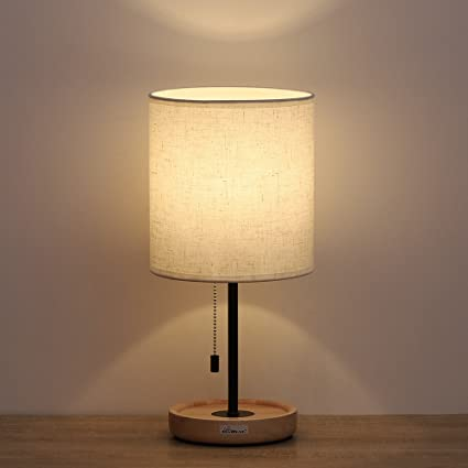 night table lamps contemporary haitral night stand table lamps modern with linen fabric shade and wooden base