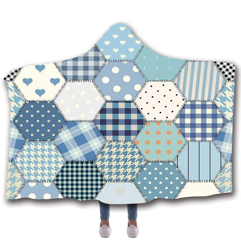 "MOOCOM Cabin Decor Durable Hooded Blanket,Blue Toned Patchwork Hexagons Stitched Seem Quilt Pattern Retro Tile Image Decorative for All Seasons,60"" W x 50"" H"
