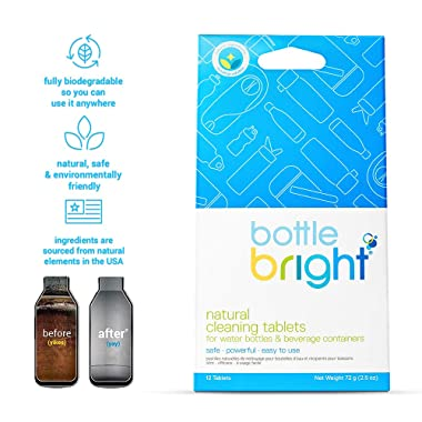 Bottle Bright - All Natural, Biodegradable, Chlorine & Odor Free Water Bottle & Hydration Pack Cleaning Tablets