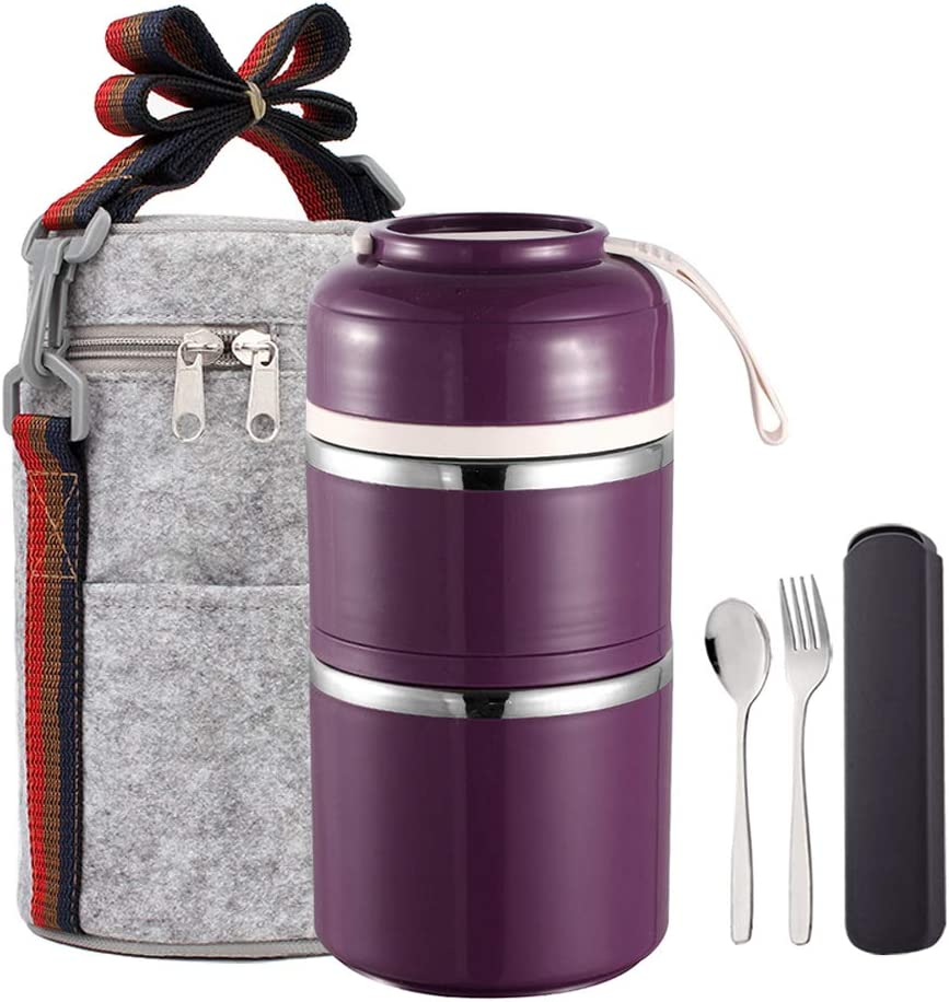 YBOBK HOME Bento Lunch Box Leakproof Stainless Steel Stackable Lunch Box with Bag and Reusable Flatware Set Thermal Food Storage Container for Healthy On-the-Go Meal and Snack Packing (2-Tier, Purple)