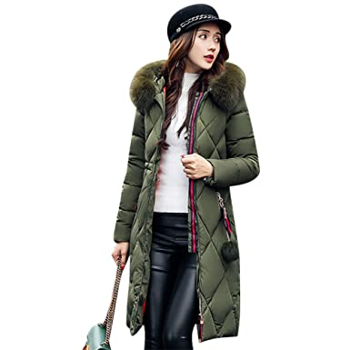 2a8419ac180ed Gamery Women Winter Long Parkas Coat Jackets with Faux Fur Hood Army Green  XS