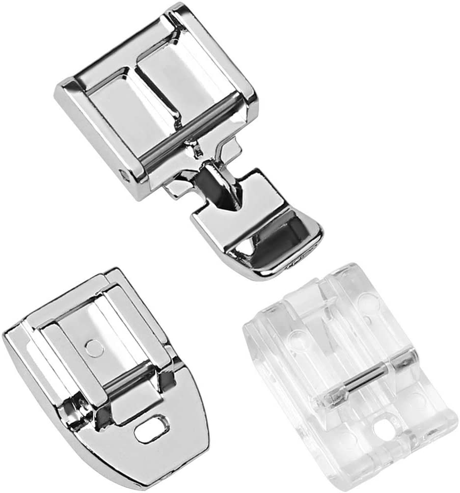 Pimoys 1pcs Zipper Foot and 1pcs Invisible Zipper Foot for All Low Shank Snap-On Singer, Brother, Babylock, Janome, Kenmore, Juki, New Home, Elna