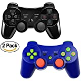 PS3 Controller XFUNY 2 Pack Wireless Bluetooth 6-Axis Controllers Dualshock 3 Gamepad for PlayStation 3 (Blue+Black)