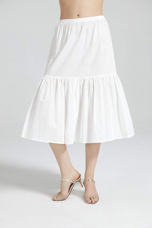 Half Slip Skirt Extender 100/% Cotton Vintage Underskirt Tea Length White Black Ivory