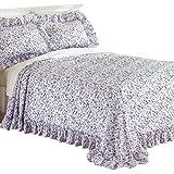 Floral Plisse Ruffle Bedspread, Lavender, Twin