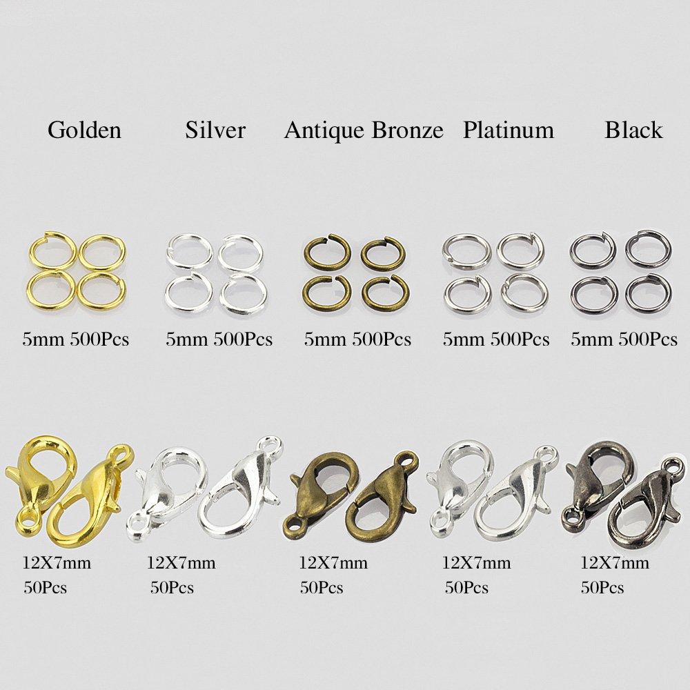 in metallo MixColor-12mm-Clasps-JumboKits collane e gioielli con cordino TM Elementi terminali a molla per bracciali Lollibeads