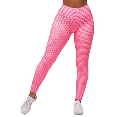 98a91f512f1c5 Nulibenna Womens Ruched Textured Leggings High Waist Workout Sport Yoga Tights  Pants Pink