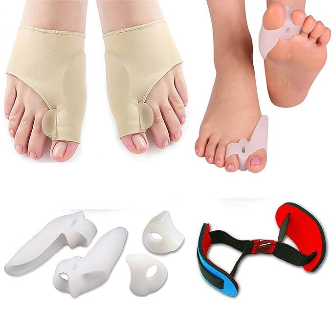 Corrector de juanetes y protector de alivio de juanetes, kit de mangas - tratar el dolor en Hallux Valgus, articulación de dedos grandes, dedos de martillo, ...