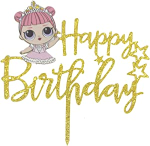 LOL Cake Topper, Happy Birthday Cake Topper, Pink Cake Decorations for Baby Shower Theme Party Supplies