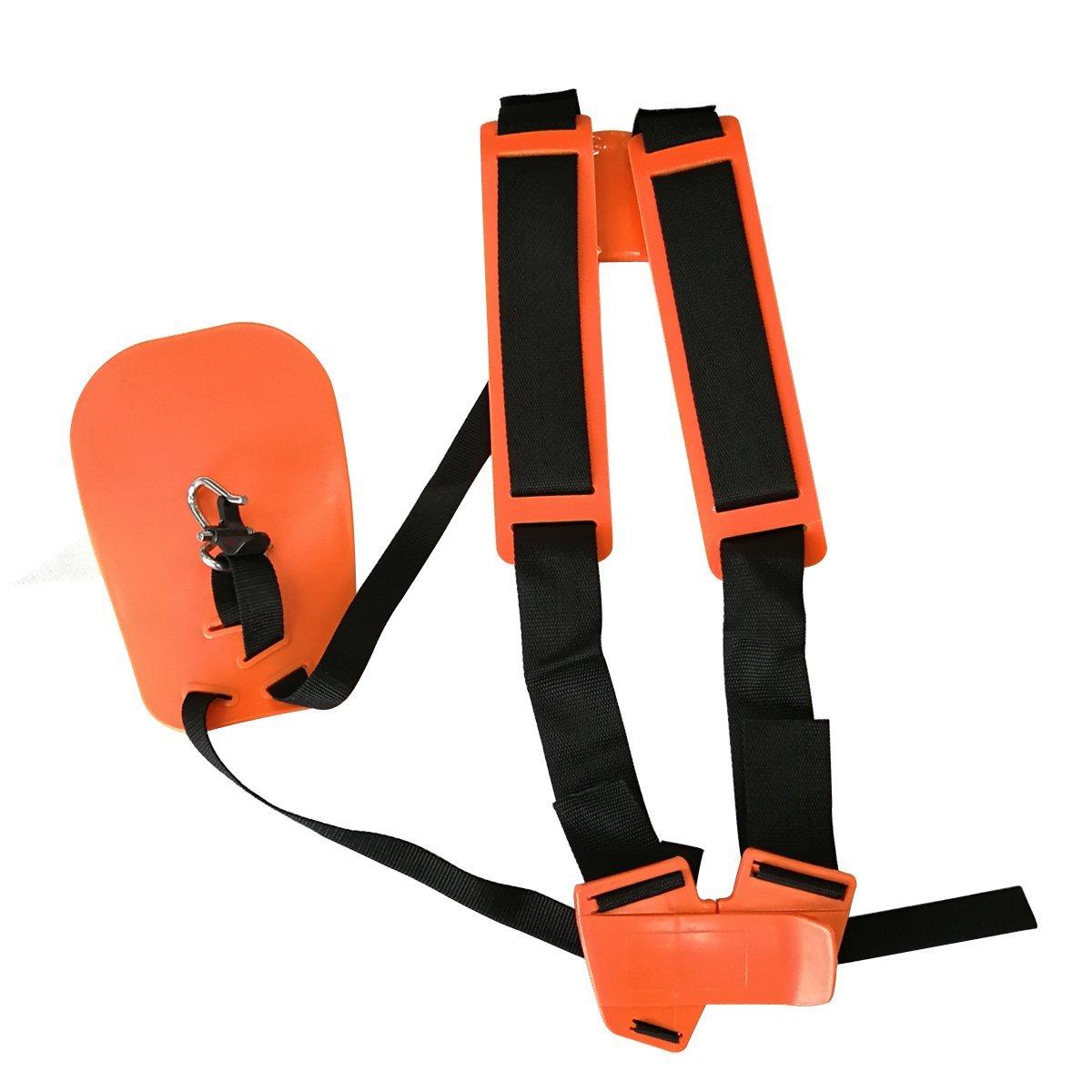 Orange Safety Professional Double Shoulder Strap String Trimmer Brush Cutter Harness Belt Carry Hook Garden by Cancanle