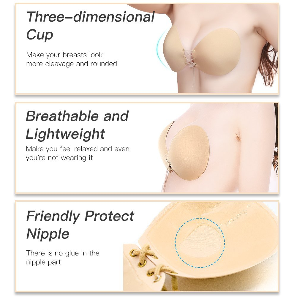 Veroyi Sticky Strapless Bra, Self Adhesive Invisible Push up Bra with Drawstring, Free Nipple Cover, Portable Storage Case (B Cup)