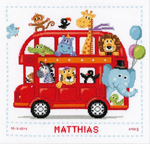 Vervaco Birth Record Funny Bus Counted Cross Stitch Kit, Multi-Colour