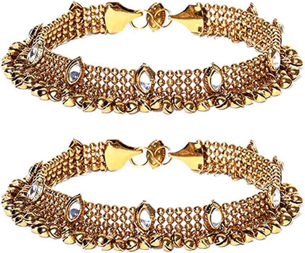 YouBella Jewellery Bollywood Ethnic Gold Plated Traditional Indian Anklets for Girls and Women
