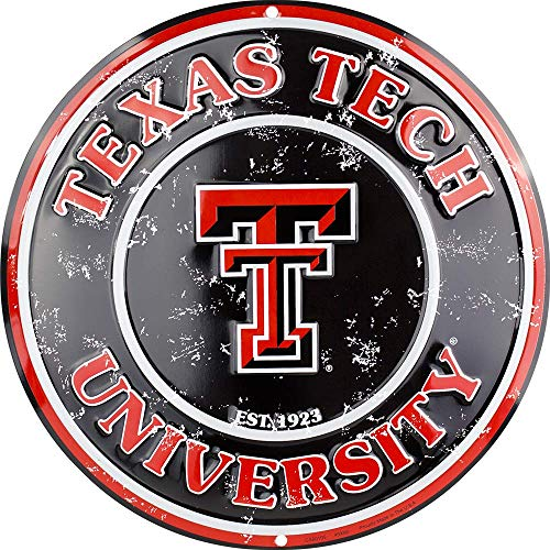 (Tag City Texas Tech 12 Inch Embossed Metal Nostalgia Circular Sign)