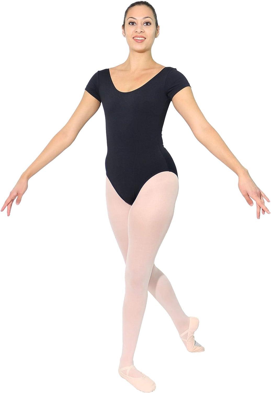 Danzcue Adult Cotton Short Sleeve Ballet Cut Leotard