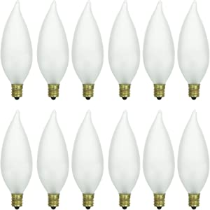 Sunlite 40035-SU 12-Pack Flame Tip Chandelier Light Bulbs 60 Watts, Candelabra Base (E12), 120 Volt, Frost, Incandescent, Dimmable, 12 Pack, 32K - Warm White