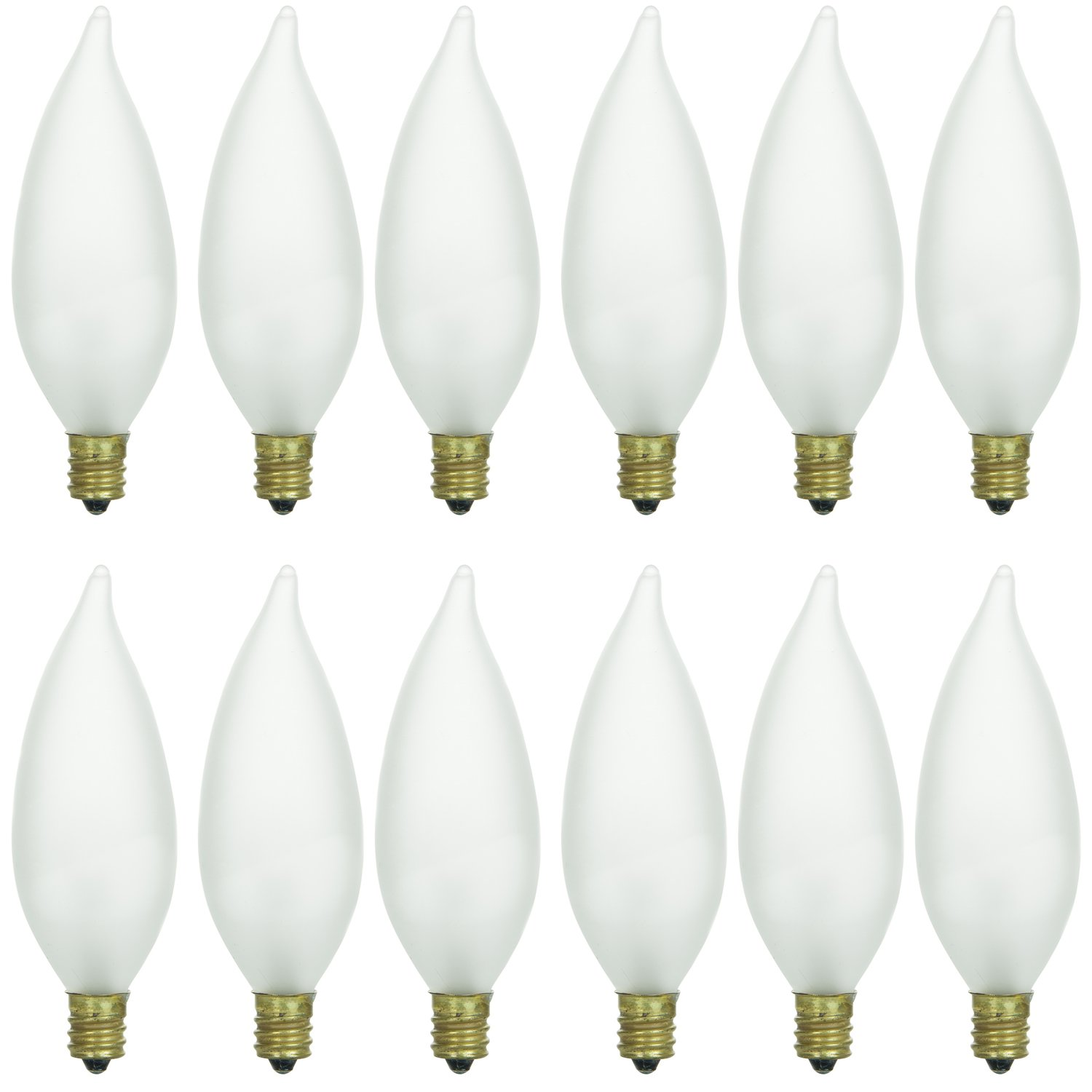 Sunlite 40031-SU 12-Pack Flame Tip Chandelier Bulbs 40 Watts, Candelabra Base (E12), 120 Volt, Frost, Incandescent, Dimmable, 12 Pack, 32K - Warm White, 12 Piece