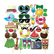 Tinksky Luau Photo Booth Props Hawaiian Photobooth Props for Summer Beach Pool Luau Party Decor DIY Kit 32-pack
