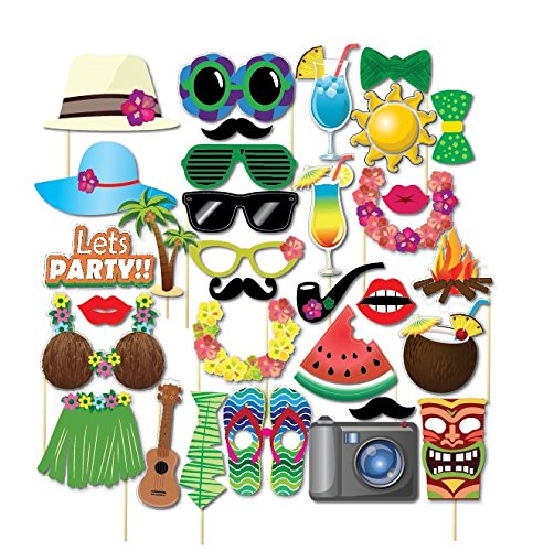 BESTOYARD Luau Hawaiian Photo Booth Props for Summer Beach Pool Luau Party Decor DIY Kit Wedding Birthday Baby Shower Favors 32pcs ()
