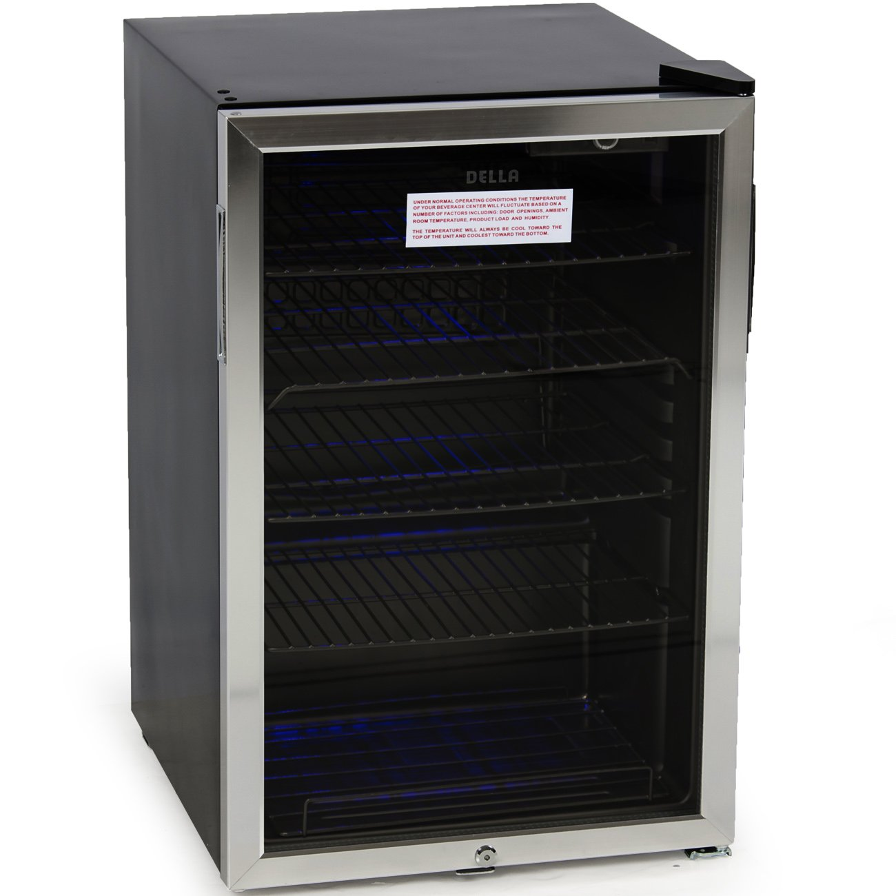 DELLA 048-GM-48197 Beverage Center Cool Built-In Cooler Mini Refrigerator w/ Lock- Black/Stainless Steel