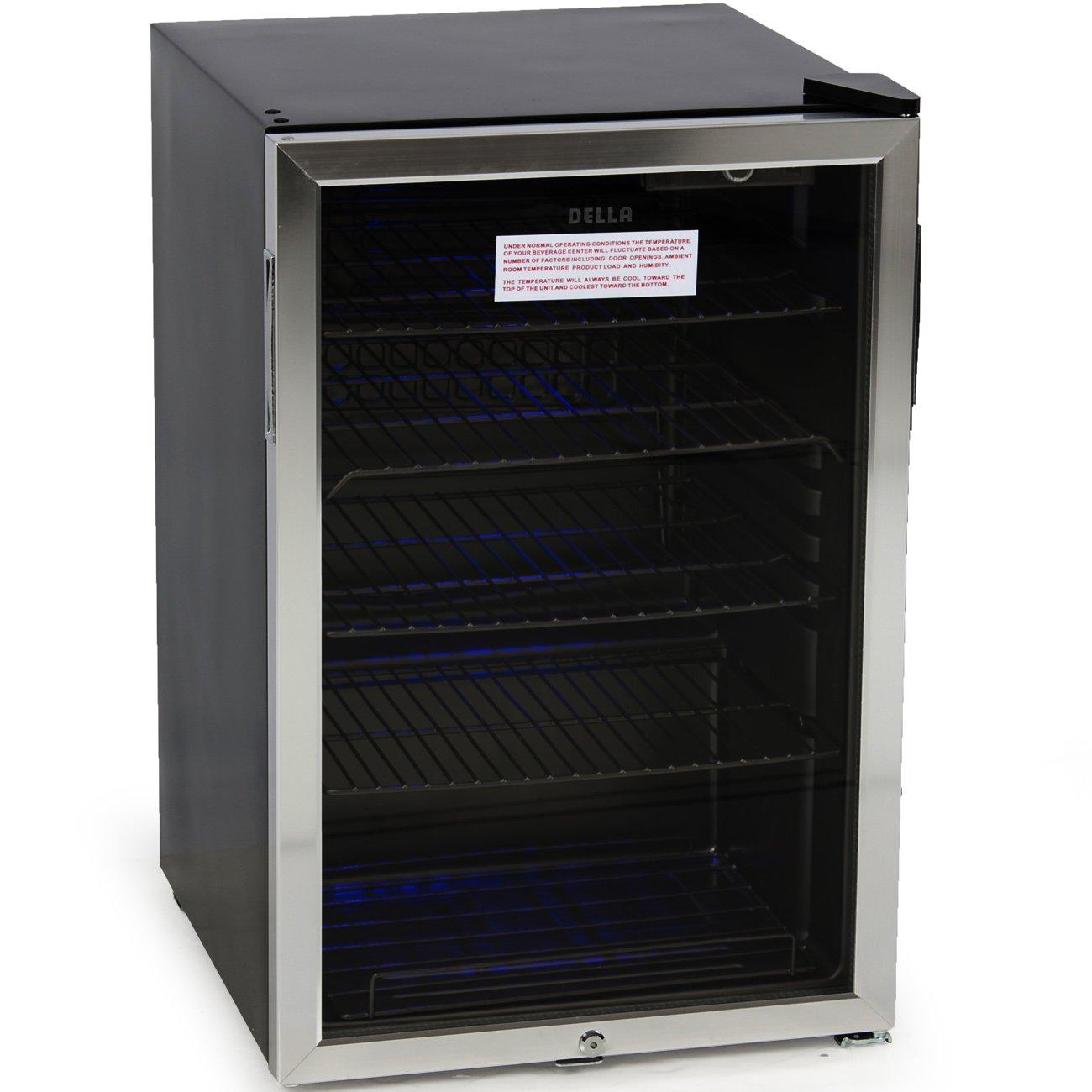 DELLA 048-GM-48197 Beverage Center Cool Built-In Cooler Mini Refrigerator w/ Lock- Black/Stainless Steel