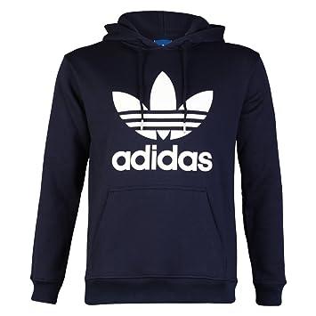 adidas hoodie mens. mens navy blue/white adidas originals trefoil logo hooded sweatshirt jumper hoodie top size m f