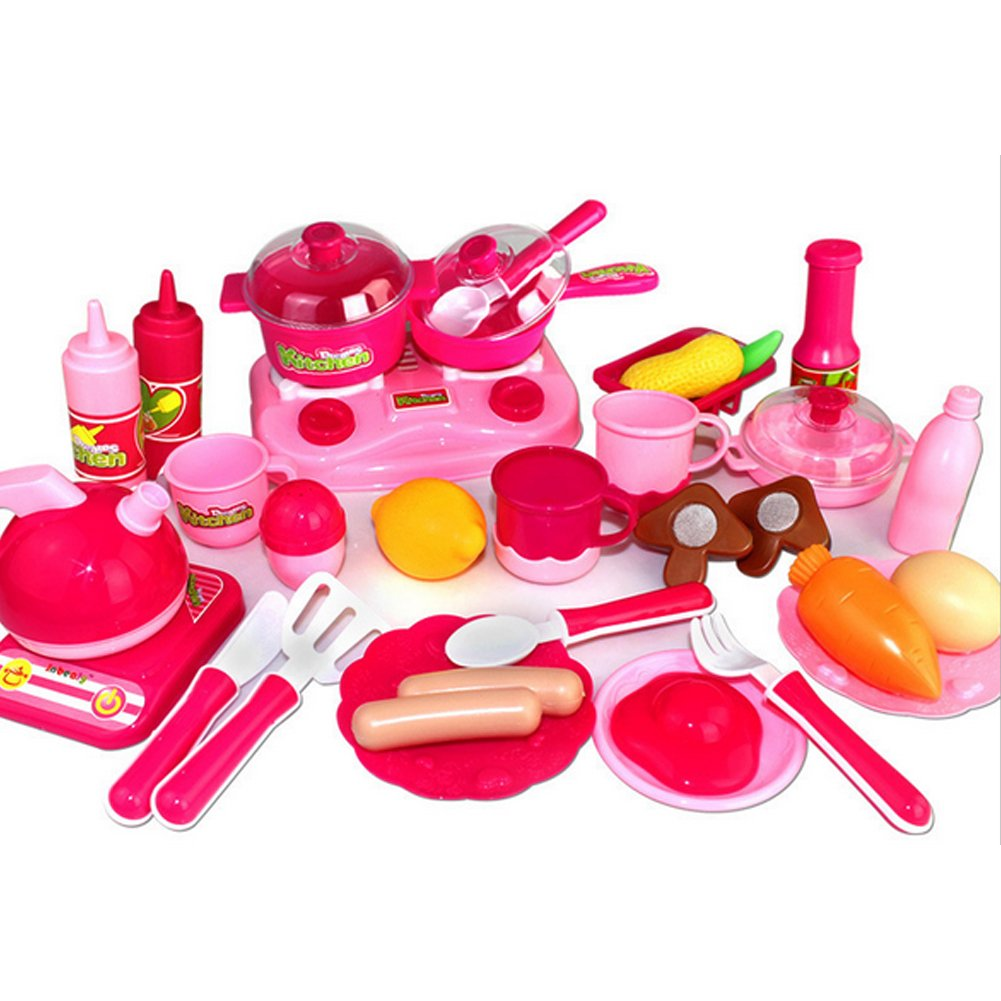 BUYITNOW Kids Plastic Kitchen Cooking Playset Pretend Play Food Vegetable Cutting Toy 30Pcs
