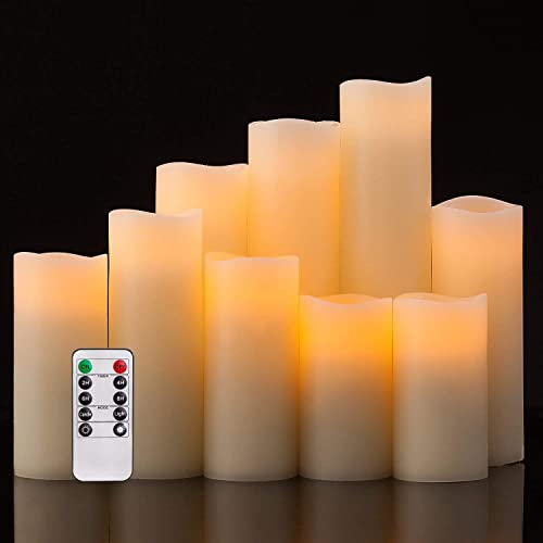 DREA Flameless Candles, Led Candles Set of 9 H 4 5 6 7 8 9 xD 2.2 Ivory Real Wax Battery Candles with Remote Timer