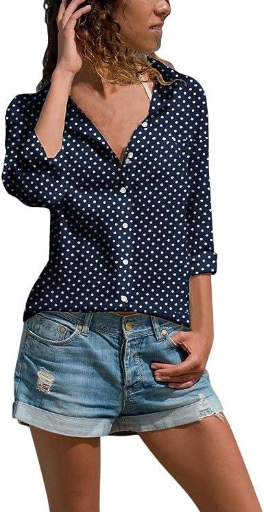 Camisas Mujer Camisa De Manga Larga Elegante Lunares Cuello V Camisas Negocio T-Shirt Casual Top Mujer Blusas De Otoño Sencillos Blusa jorich (Azul Marino, XL Bust:105cm/41.34): Amazon.es: Ropa y accesorios