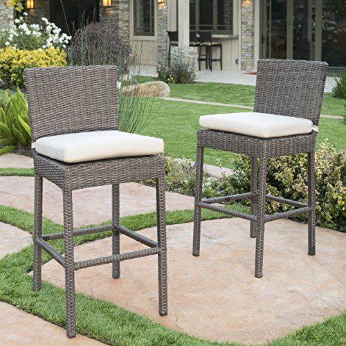 Pollenca Wicker Counter Height Dining Chairs with Canvas Sunbrella Cushions (Set of 2) (Wicker Counter Height Chairs)