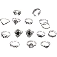 Hainice 15 Pcs/Set Retro Finger Ring Set Fashion Bohemian Carved Joint Rings Vintage Crystal Knuckle Ring Set for Women…