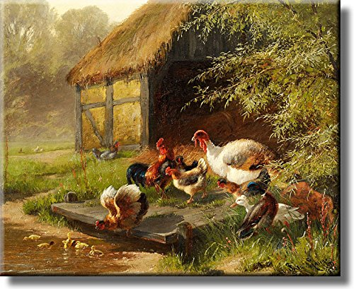 Farm White Turkey and Chickens Picture on Acrylic , Wall Art Décor, Ready to Hang