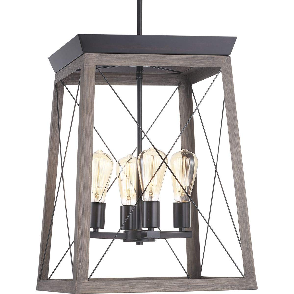 Progress Lighting P500178-020 Briarwood Collection Four-Light Foyer, Antique Bronze