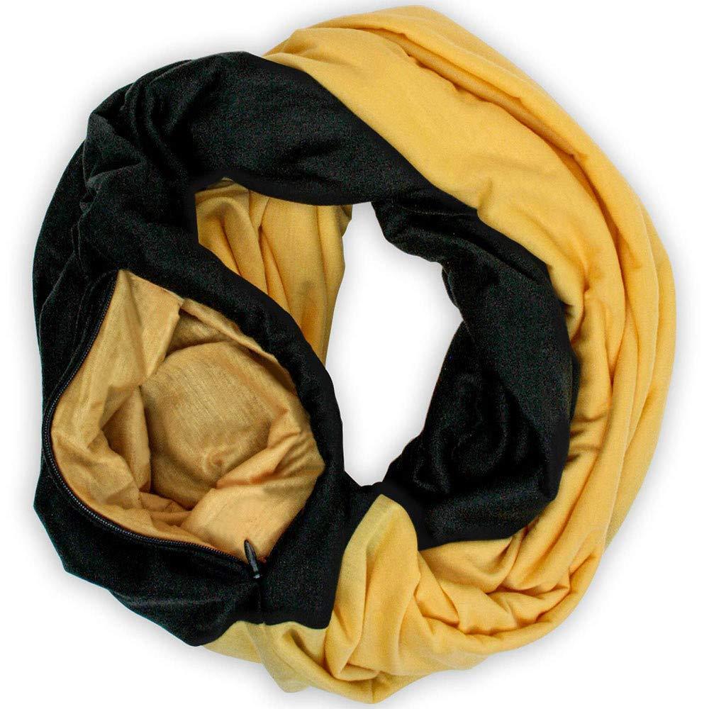 Warme Infinity Schal Rundschal Schlauchschal mit Versteckte Reißverschlusstasche