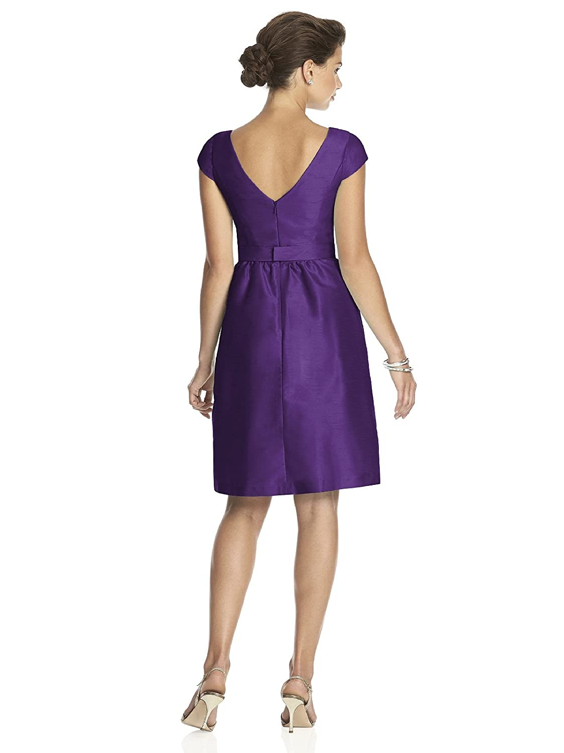 Women\'s Cocktail Length Dupioni Bateau Neck Dress with Bow by Alfred ...
