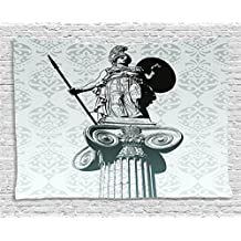 Ambesonne Sculptures Decor Collection, Statue of Athena on Pillar Baroque Background Ancient Greek Mythology Hellenistic Monument, Bedroom Living Room Dorm Wall Hanging Tapestry, 80 X 60 Inches, Black